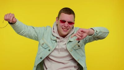 Cheerful Teen Young Man Listening Music Dancing Disco Fooling Around Having Fun Gesticulating Hands