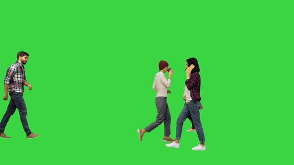 People Walking in the Streets Passing By Urban Life Concept on a Green Screen Chroma Key