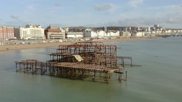 Thumbnail for Aerial View of the West Pier on the Brighton Seafront in the UK
