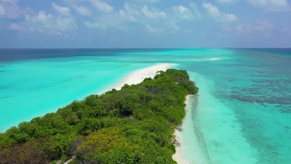 Thumbnail for Daytime drone copy space shot of a white paradise beach and turquoise sea background in high resolut