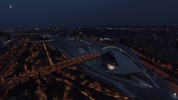 City of Arts and Sciences. Valencia Night Aerial View