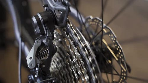 Closeup on Rear Bike Cassette Rotating with Chain