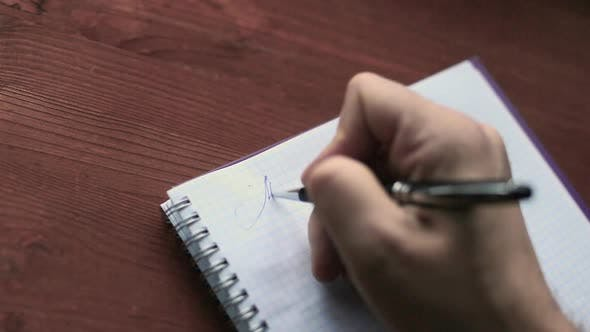 Thumbnail for Male Hand Close Up Start Writing Letter To Friend