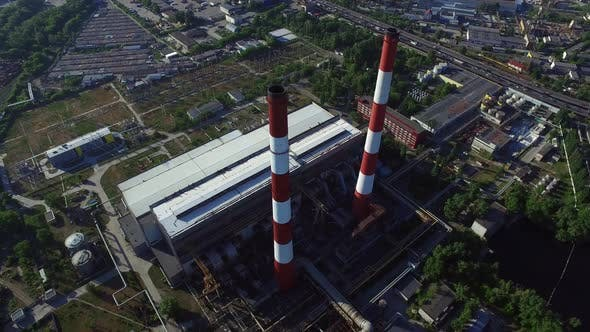 Thumbnail for Aerial View Chimneys on Industrial Plant. Industrial Pipe on Chemical Factory