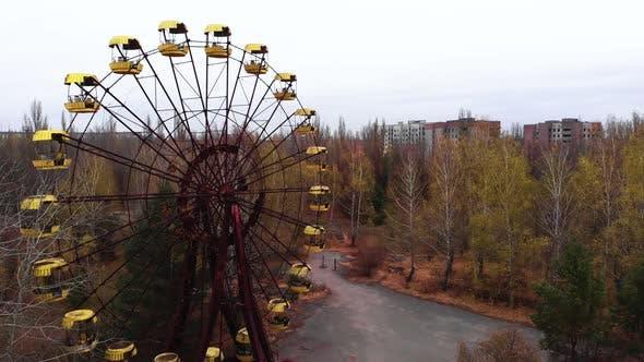 Chernobyl Exclusion Zone. Pripyat. Aerial. Abandoned Ferris Wheel.
