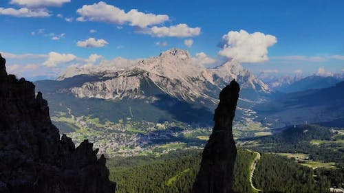 Dolomites Mountains Italy. Aerial view of Cortina d' Ampezzo surrounded by majestic mountains.