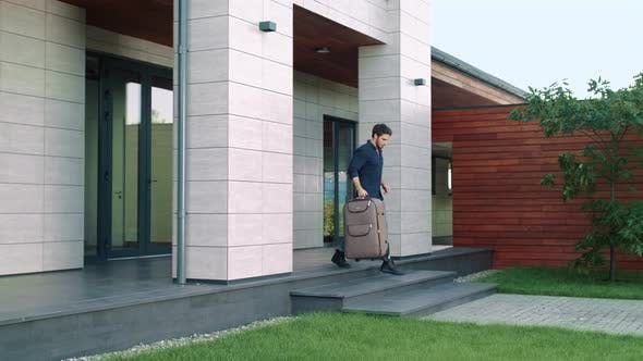 Thumbnail for Business Man Going Outside Luxury Hotel with Suitcase. Casual Man Going Out Home