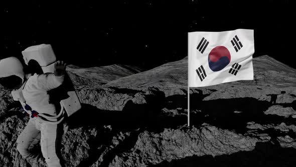 Astronaut Planting South Korea Flag on the Moon