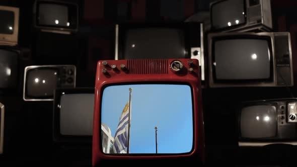 Flag of Uruguay on a Retro TV.