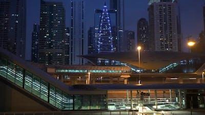 Metropolitan City Area at Night Lights