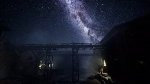 Milky Way Stars Above Abandoned Old Fatory