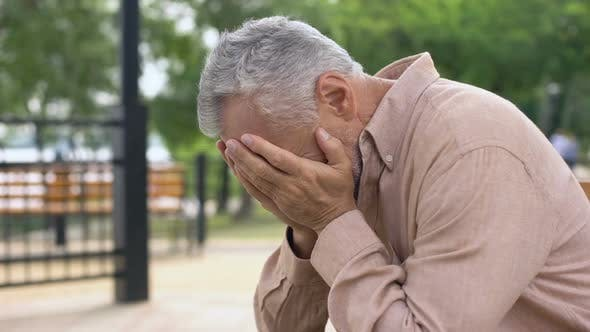 Thumbnail for Desperate Pensioner Crying, Depressed by Sad Memories, Suffering Loss, Problem