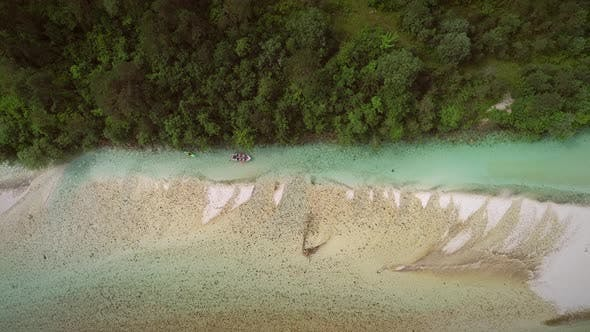 Thumbnail for Aerial view of an adventurers group doing water rafting activity Soca river