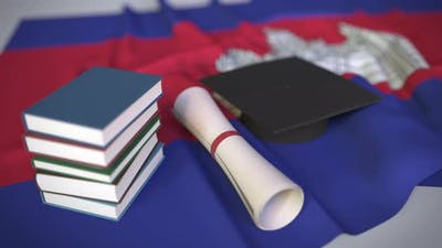 Graduation Cap and Diploma and Flag of Cambodia