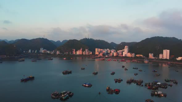 Cover Image for Aerial: Vietnam Cat Ba bay at twilight with floating fishing boats on sea, city skyline