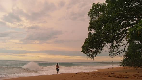 Thumbnail for Young Man Walking on a Virgin Tropical Beach at Sunset