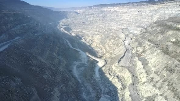 Motion Over Asbestos Pit Canyon Between Sunny Shadow Sides