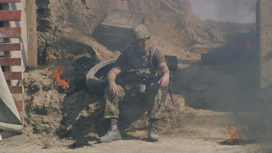 Thumbnail for Male Warrior Resting During Battle