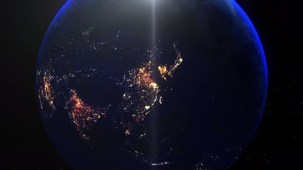Realistic Earth Night Zoom Out Clouds China Shangai