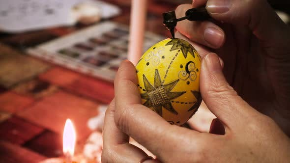 Thumbnail for Female Craftsman Hands Creating Easter Egg