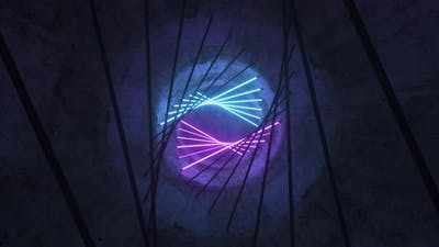 Flying in a Concrete Tunnel with Neon Lighting