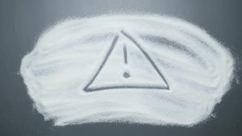 Zeichen Warnung auf der Zuckeroberfläche.