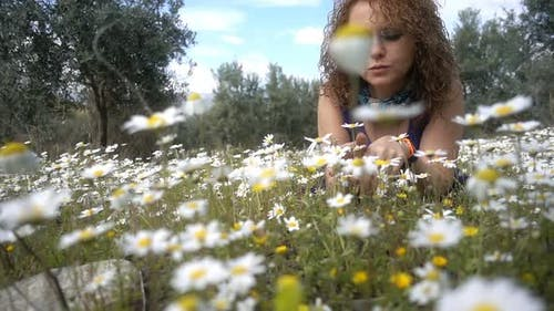 Young Woman On White Daisy Flowers 4