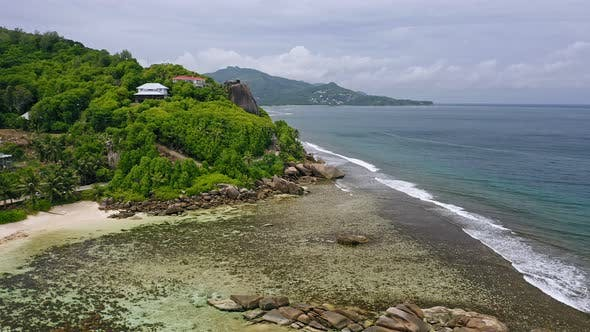 Thumbnail for Aerial View of Beautiful Mahe Island Coastline with Tropical Beaches, Shallow Water and Rainforest