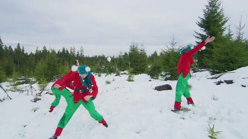 Christmas elves playing