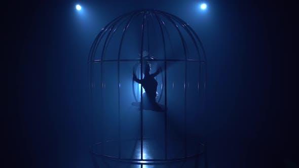 Thumbnail for Bühnenaufführung eines Aerial Turner auf einem Reifen in einem Käfig auf der Bühne. Blauer Rauchhintergrund