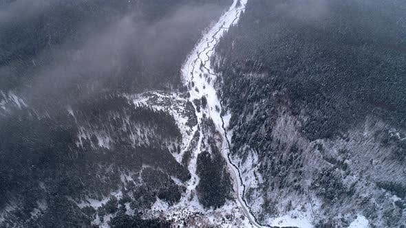 Cover Image for Aerial View in Sunrise Winter Mountain