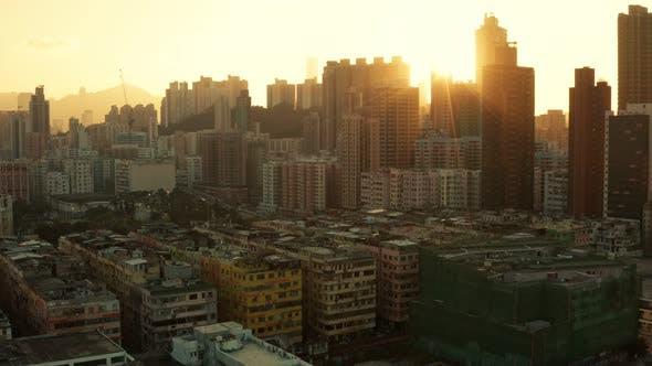 Thumbnail for Hong Kong city at sunset light flare