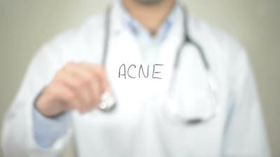 Acne, Doctor Writing on Transparent Screen