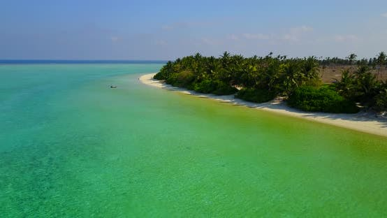 Thumbnail for Tropical flying travel shot of a paradise sunny white sand beach and blue ocean background in best q