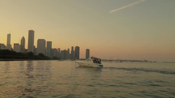 Chicago Downtown View From Lake Whit Board