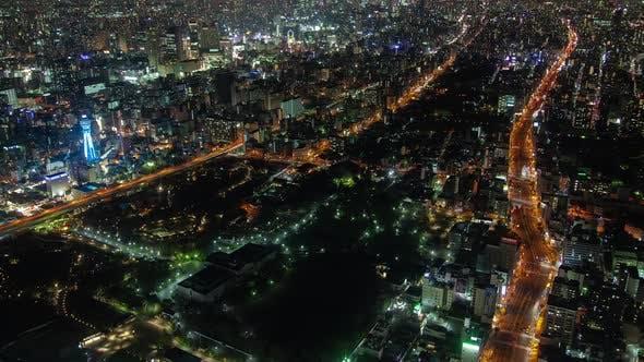 Thumbnail for Osaka Main Highways Upper View at Night Timelapse