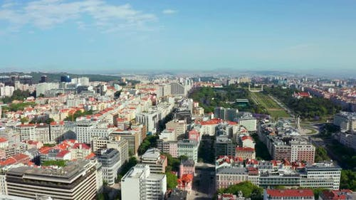 Aerial of downtown Lisbon and its government buildings