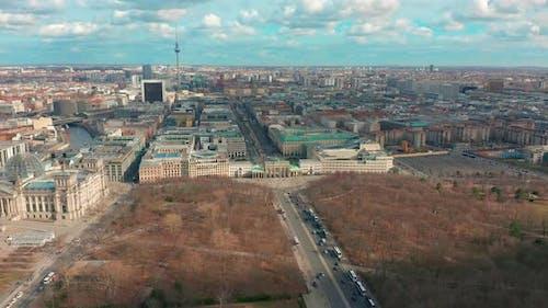 Berlin Brandenburg Gate Aerial View with City Traffic