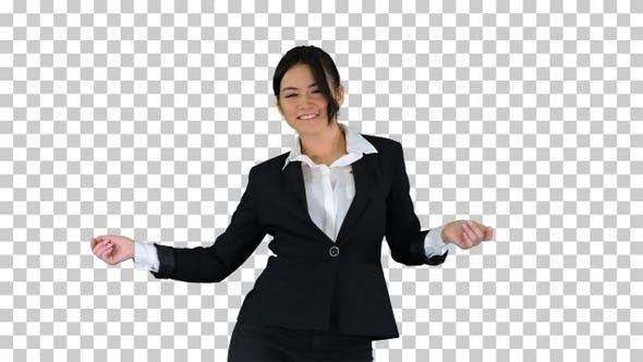 Brunette Businesswoman Dancing