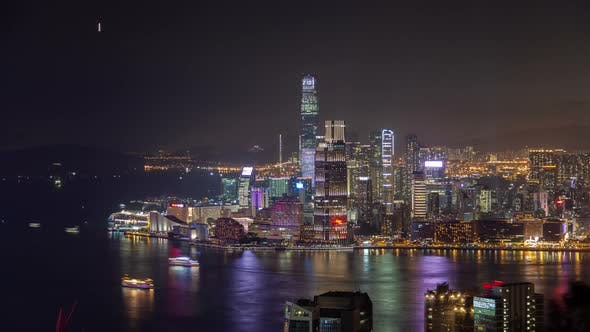Thumbnail for Cityscape Yau Tsim Mong of Hong Kong Reflected in Water