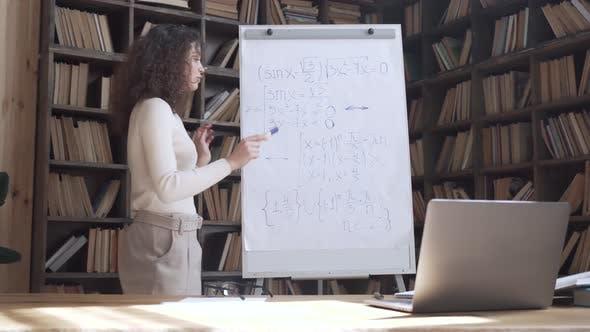 Hispanic Woman Professional Teacher Teaching Math Class Remote Lesson