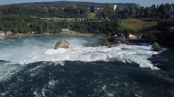 Aerial View of Rhine Falls, Switzerland
