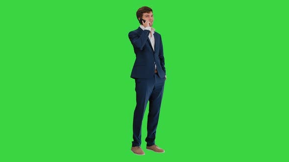 Thumbnail for Handsome Young Businessman Talking on the Phone on a Green Screen, Chroma Key
