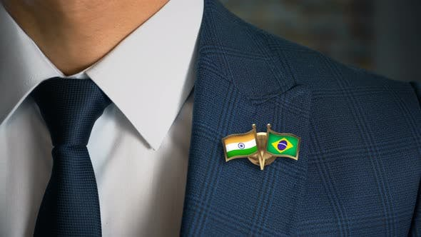 Cover Image for Businessman Friend Flags Pin India Brazil