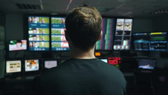 Cover Image for Manager Oversees the Process in TV Control Room