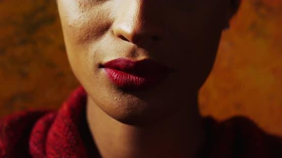 Close-up of beautiful female model's lips