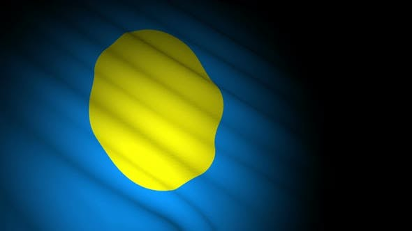 Palau Flag Blowing in Wind