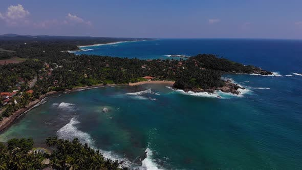 Beach aerial footage of dickwella srilanka