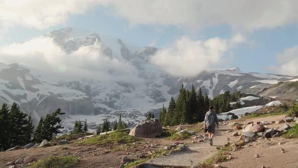 Thumbnail for Boy Hiking Paradise Trail Up Mt Rainier