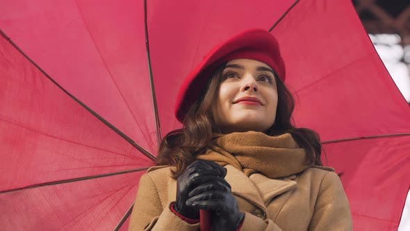 Thumbnail for Brunette girl with umbrella waiting for boyfriend, first date, lover meeting